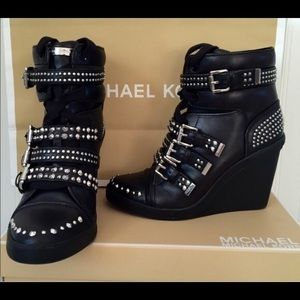 Michael Kors Black Wedge Boots